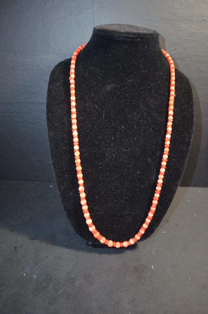 1950 Old Coral 2 tone 14K Necklace