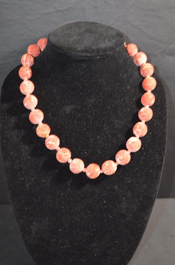 19th C. Chinese HaiMian Coral Necklace w/ Silver
