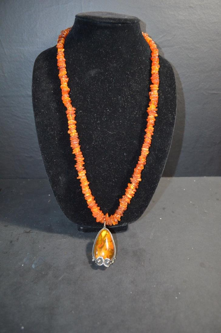 19th C. Chinese Amber Necklace w/ Silver