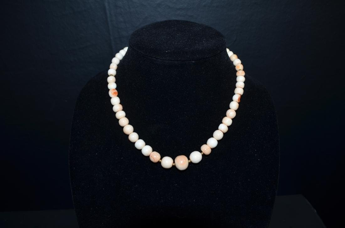 1920 Chinese Peach Color Coral Necklace w/14K