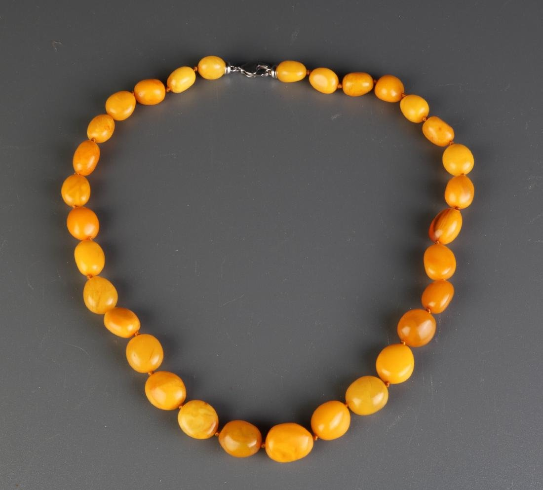 Chinese Butterscotch Amber Beads Necklace