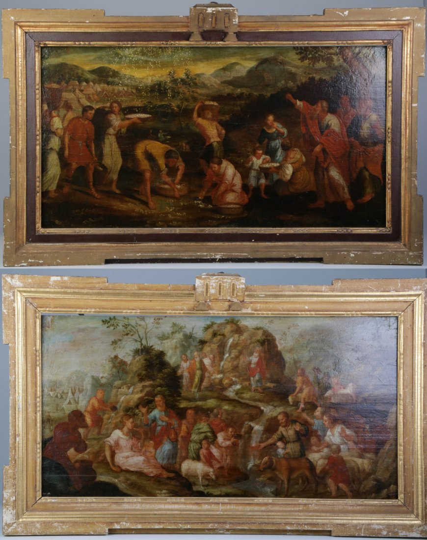 Pair of 19th C. Oil on Board w/ Original Frame