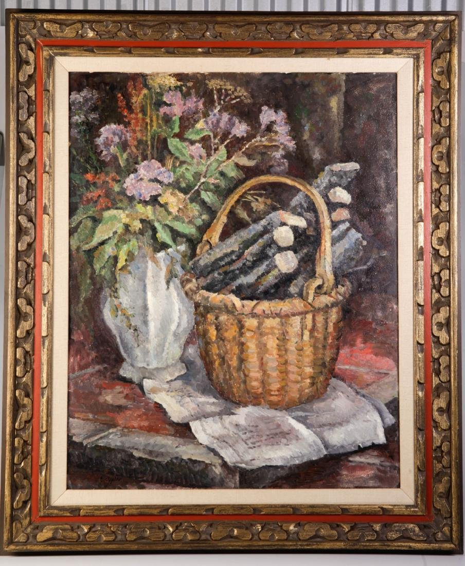 "Oil on Board Signed By ""E.Oppler"" Basket and Vase"