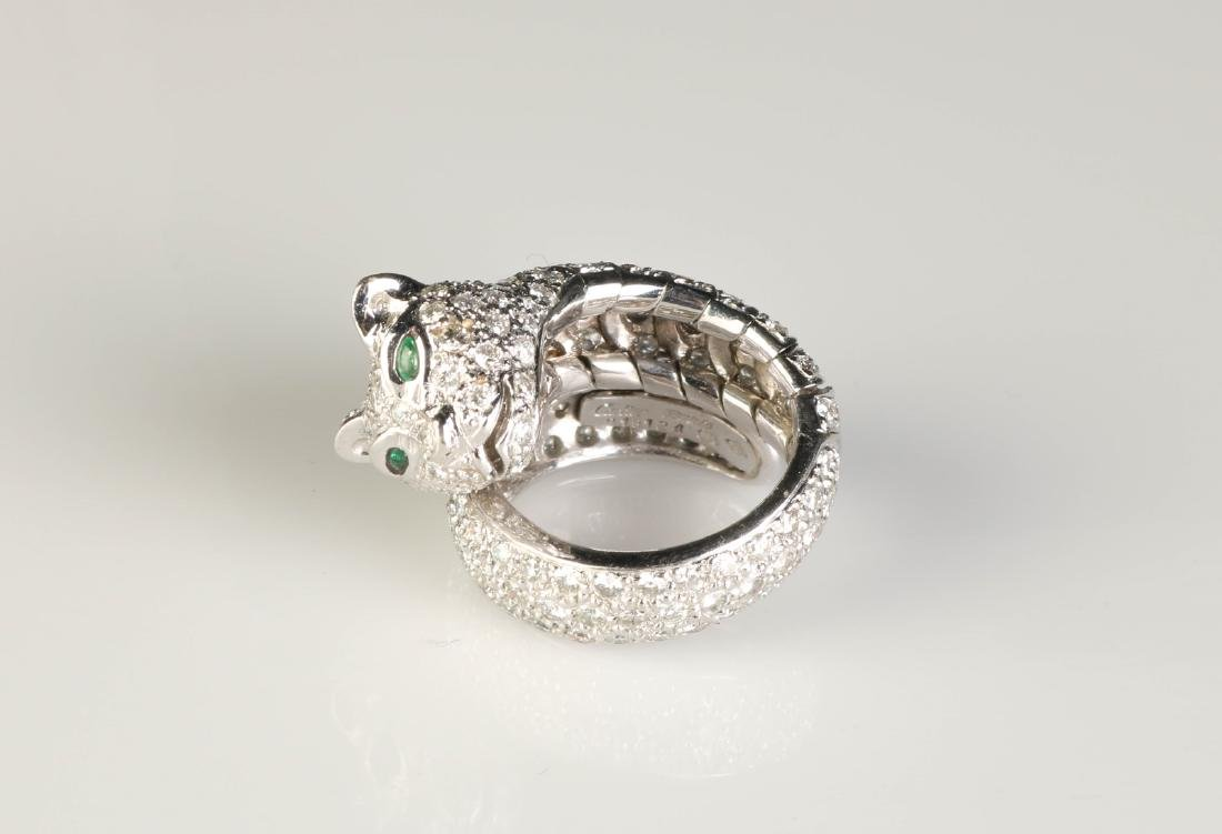 18K Panther Ring w/ Diamond, Marked Cartier