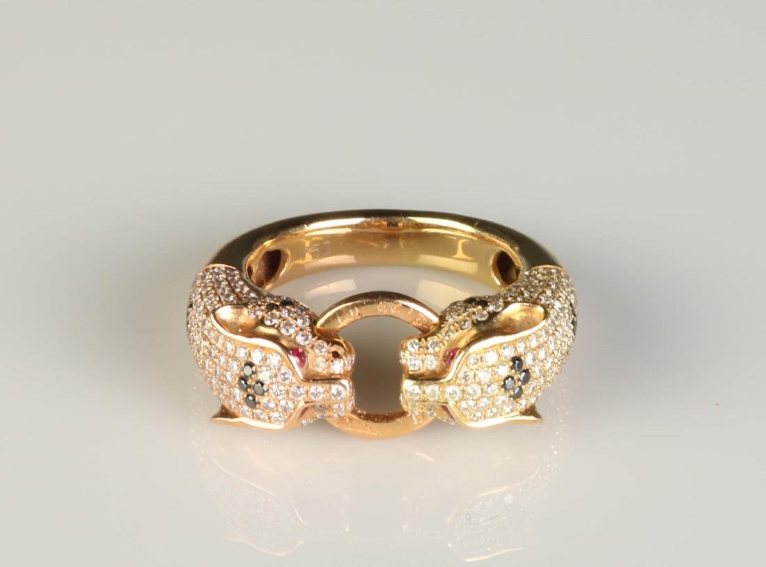 18K Panther Ring w/ Diamond Marked Cartier