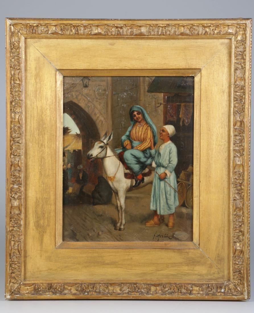 Oil on Board of Orientalist Painting Lady on Donke