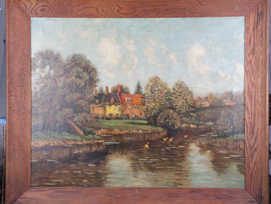 Oil on Canvas Landscape Painting, Signed