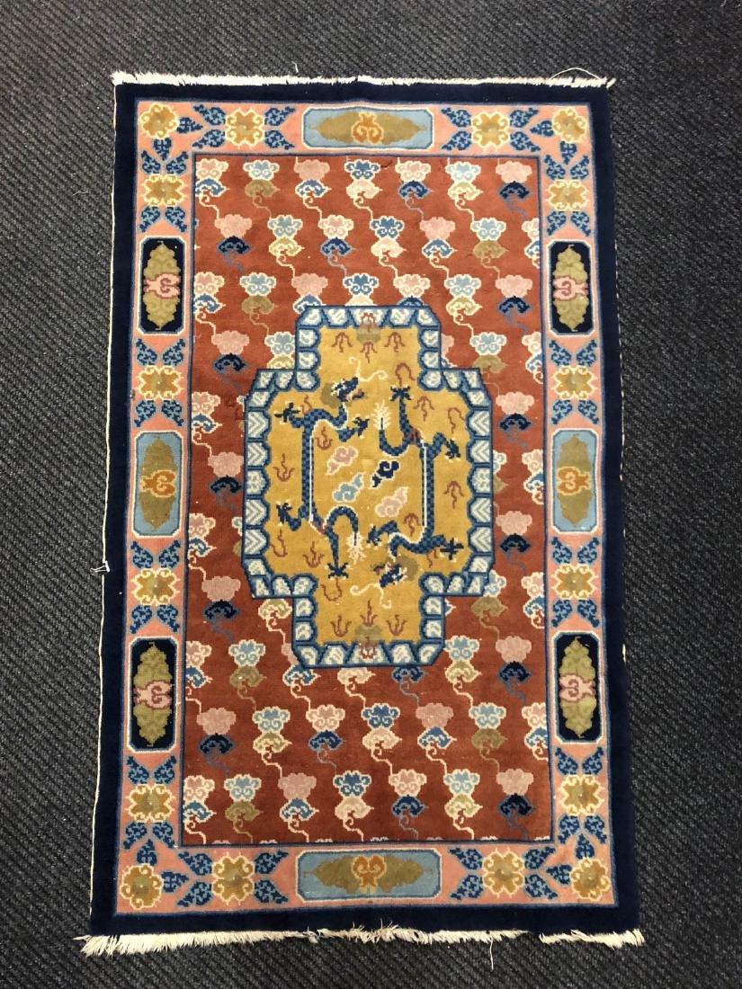 Tibetan Made Rug w/ Dragon and Cloud Design