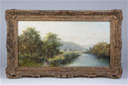 British School Landscaping Oil on Canvas 19th C.