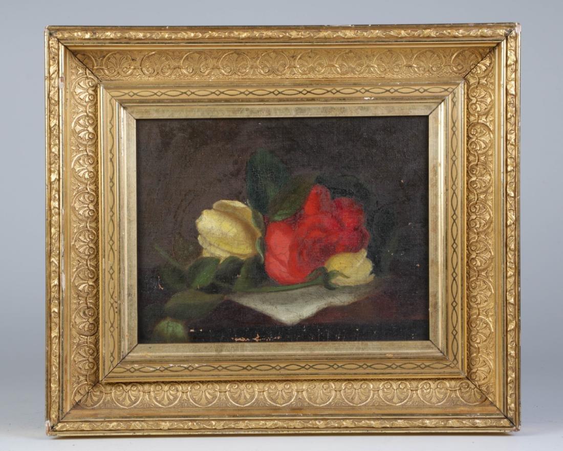 Late 19th C. Early 20th C. Oil on Canvas of Roses