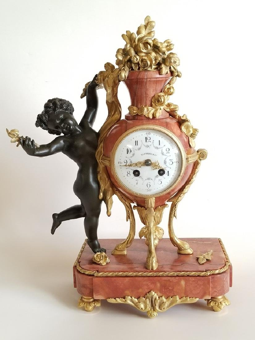 Antique Bronze & Rouge Marble Clock Tiffany & Co