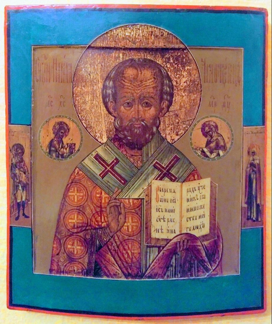 Antique 19c Russian icon of st.Nicholas