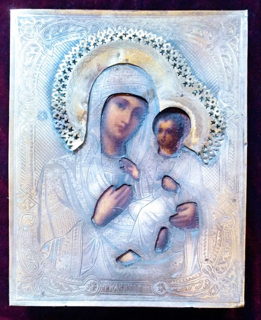 Antique 19c Russian icon of Mother of God