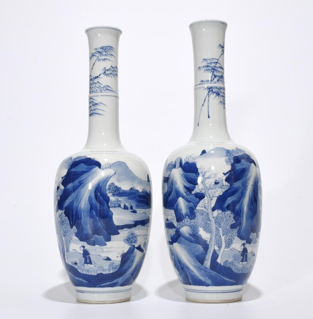 Pair of Chinese Blue/White Porcelain Vases, Marked
