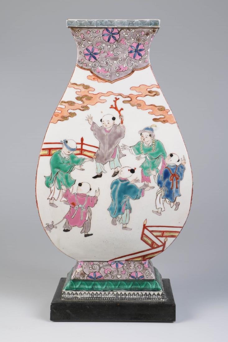 Chinese Republic Porcelain Square Vase, Mounted as