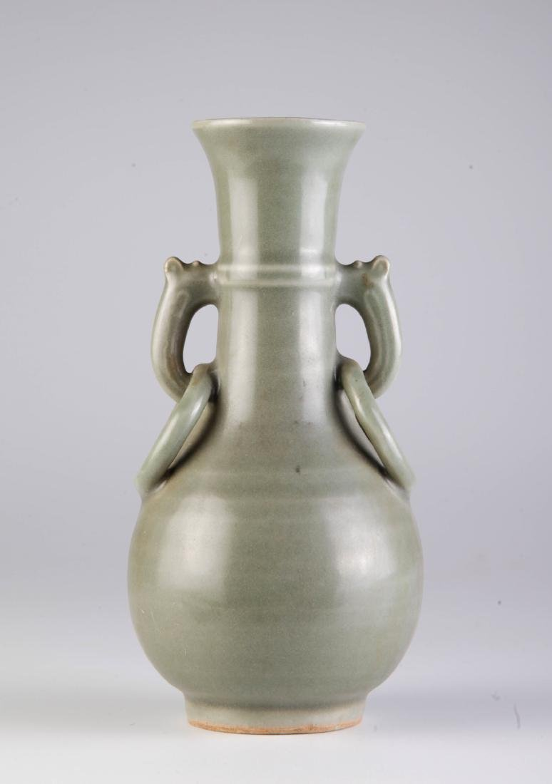 Chinese Ming Dynasty Celadon Glazed Vase w/ Ears