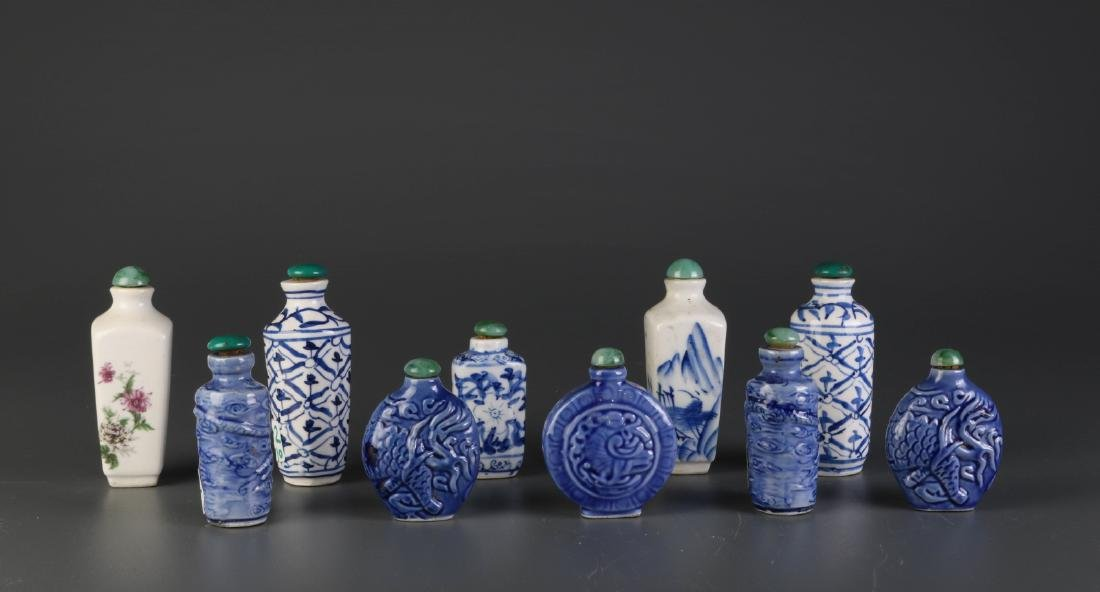 Group of Ten Chinese Blue/White Snuff Bottles