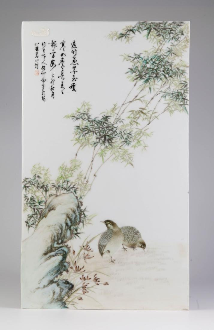 Chinese Porcelain Plaque w/ Bamboo and Two Birds