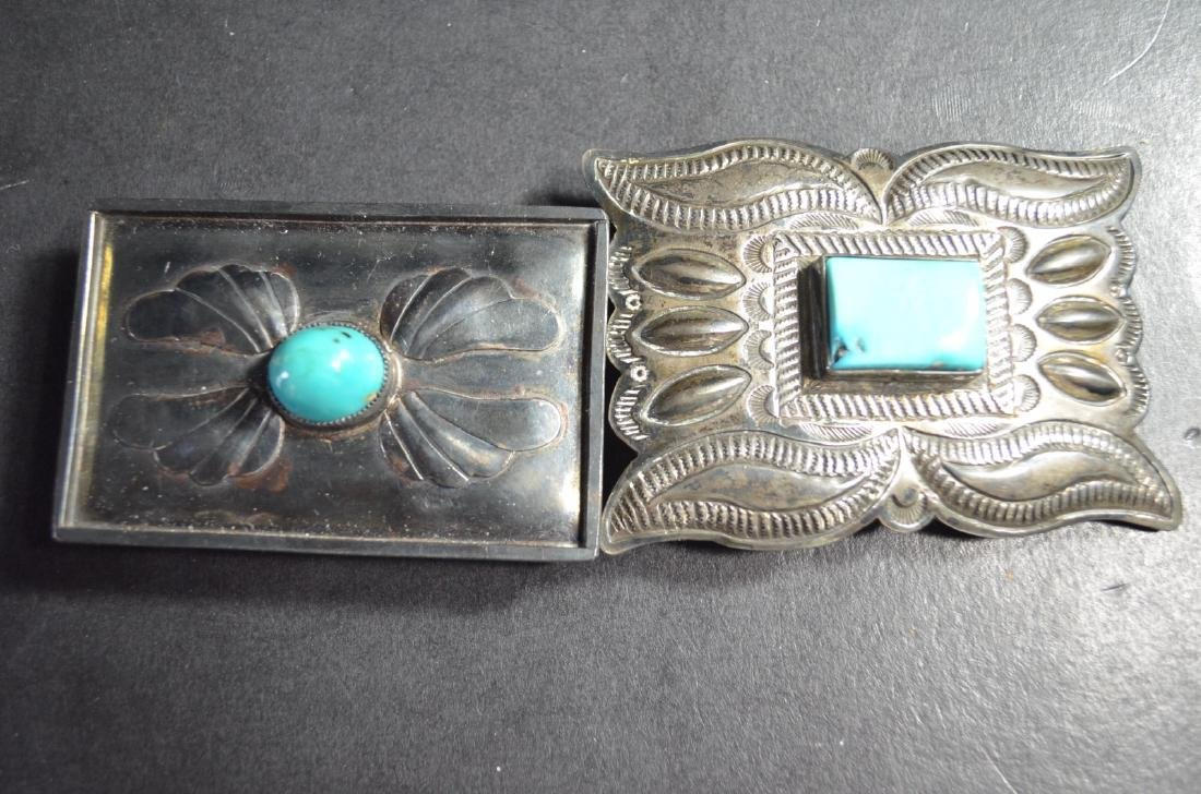 2 Pieces of Chinese Turquoise Belt Buckle