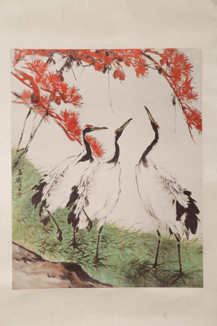 Chinese Watercolor Painting of Cranes