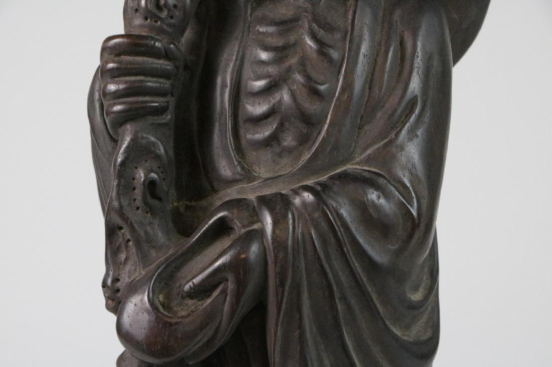 Chinese possible ZiTan wood carving of LoHan - 3
