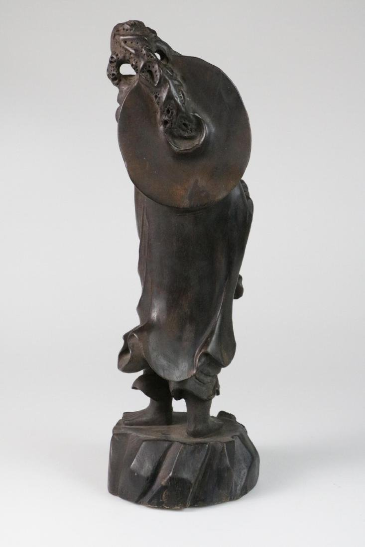 Chinese possible ZiTan wood carving of LoHan - 6
