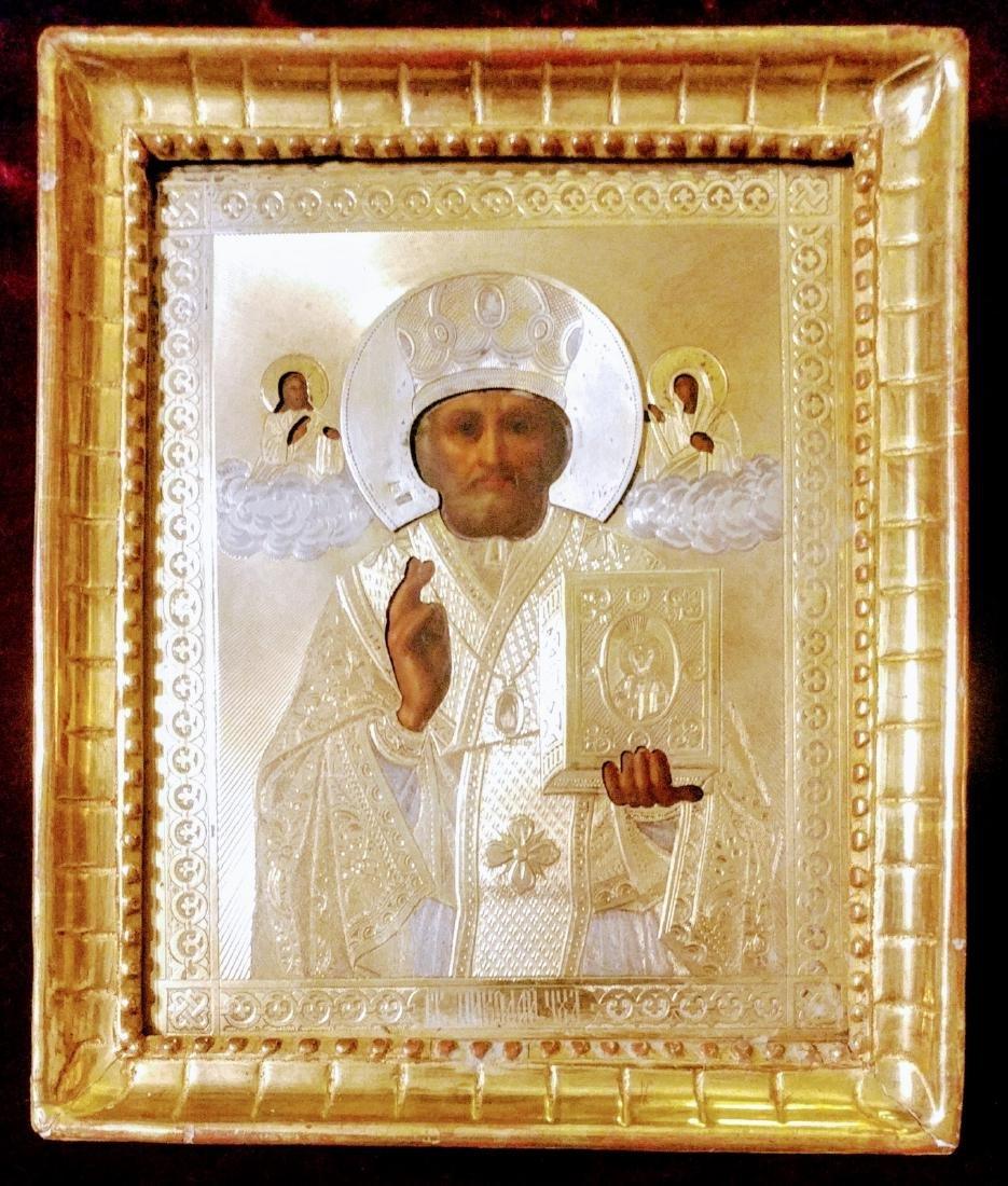 Antique 84 Silver Russian icon of st.Nicholas