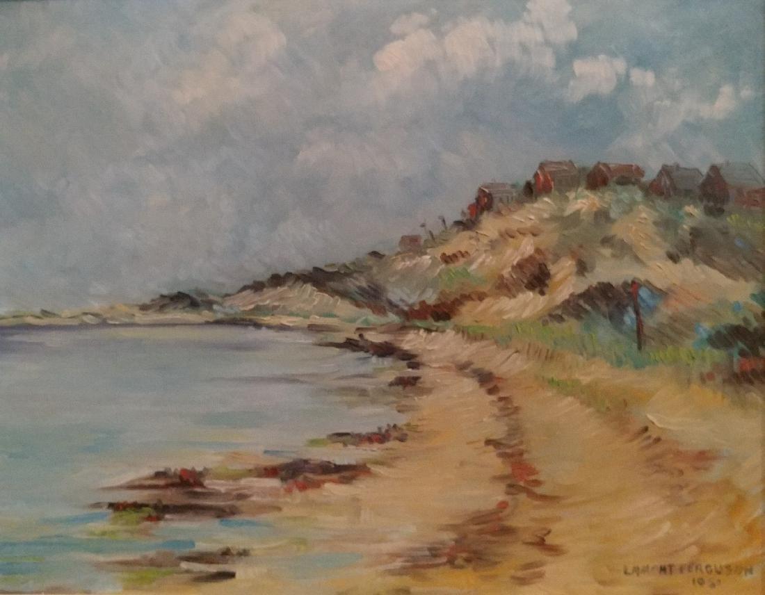 Oil On Canvas of beach signed Lamount Ferguson