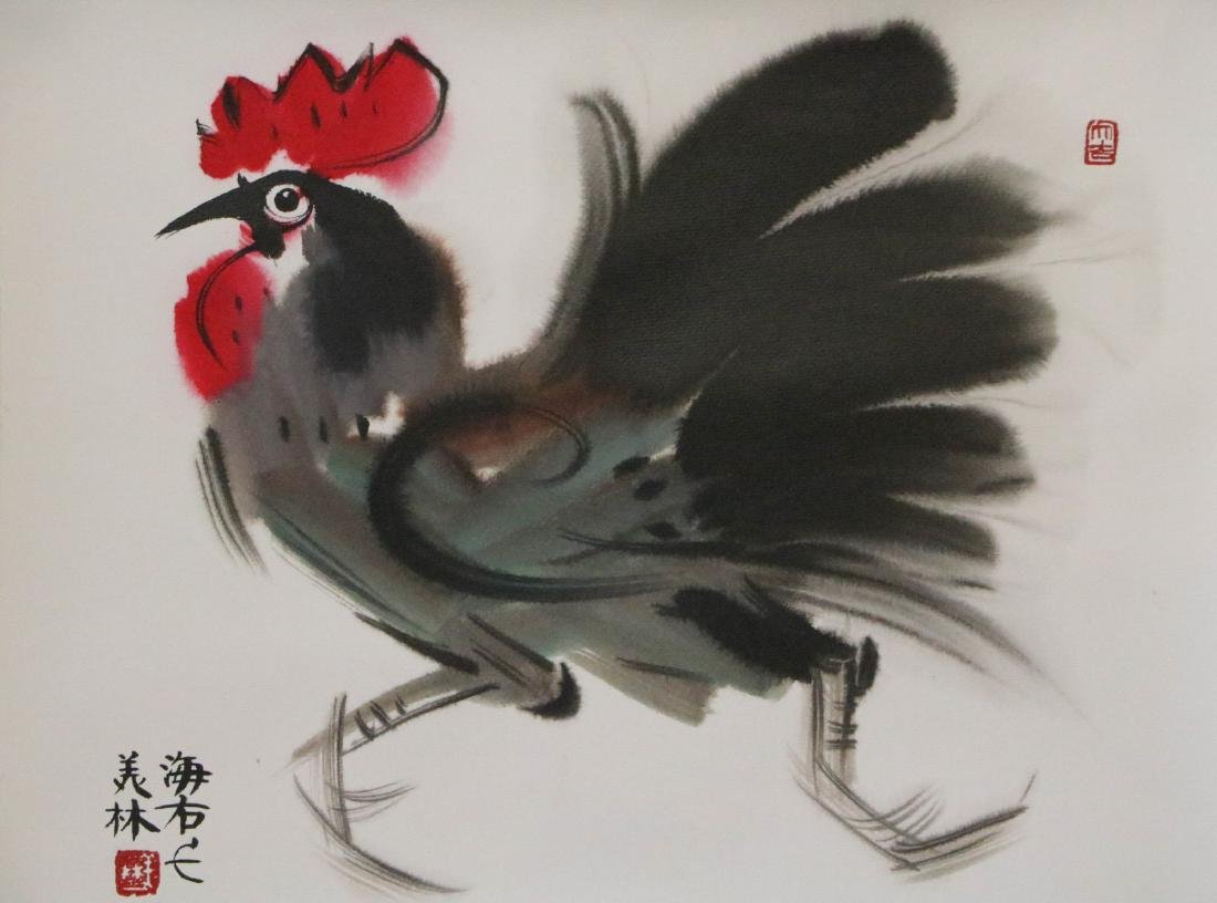 Han, MeiLin. chinese color painting of a cock