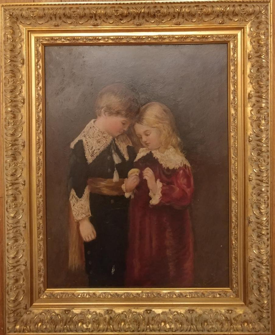 Oil on Wood panel with Gold Giltwood frame,Signed