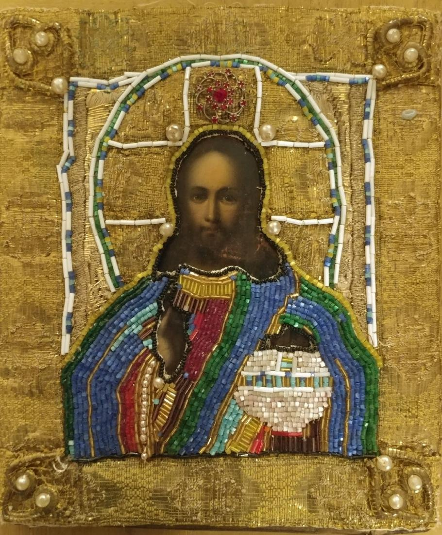 Antique 19c Russian icon of Christ.