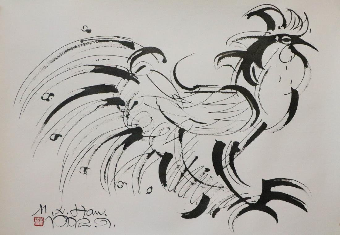 Han, MeiLin Chinese ink color painting of a cock