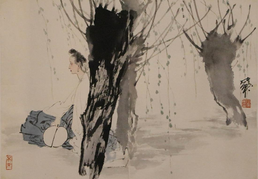 He, Jia Ying  color painting of figure