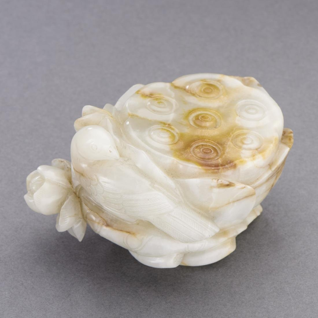 White And Russet Jade Carving Of Lotus And Bird