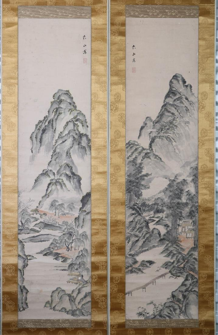 Pair of Chinese Watercolor Painting of Mountains