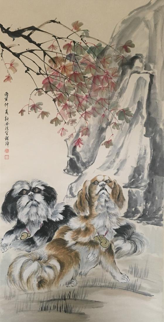Cheng, Zhang. water color painting of two dogs