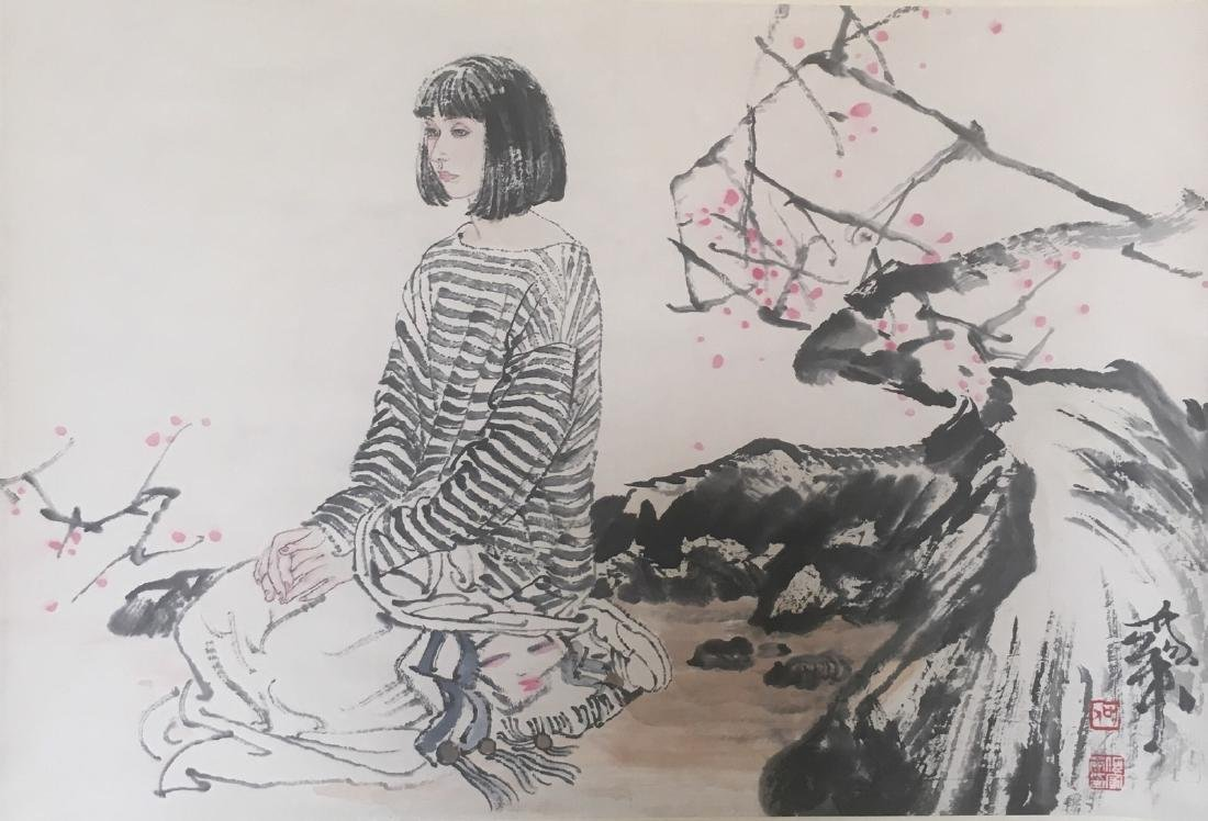 He, JiaYing. water color painting of a woman
