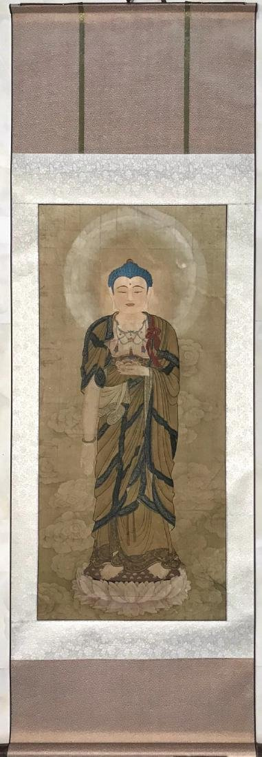 Chinese water color painting of a buddha