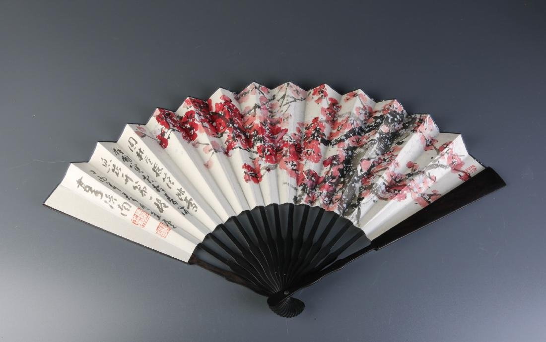 Chinese Watercolor Painting on Fan, Signed
