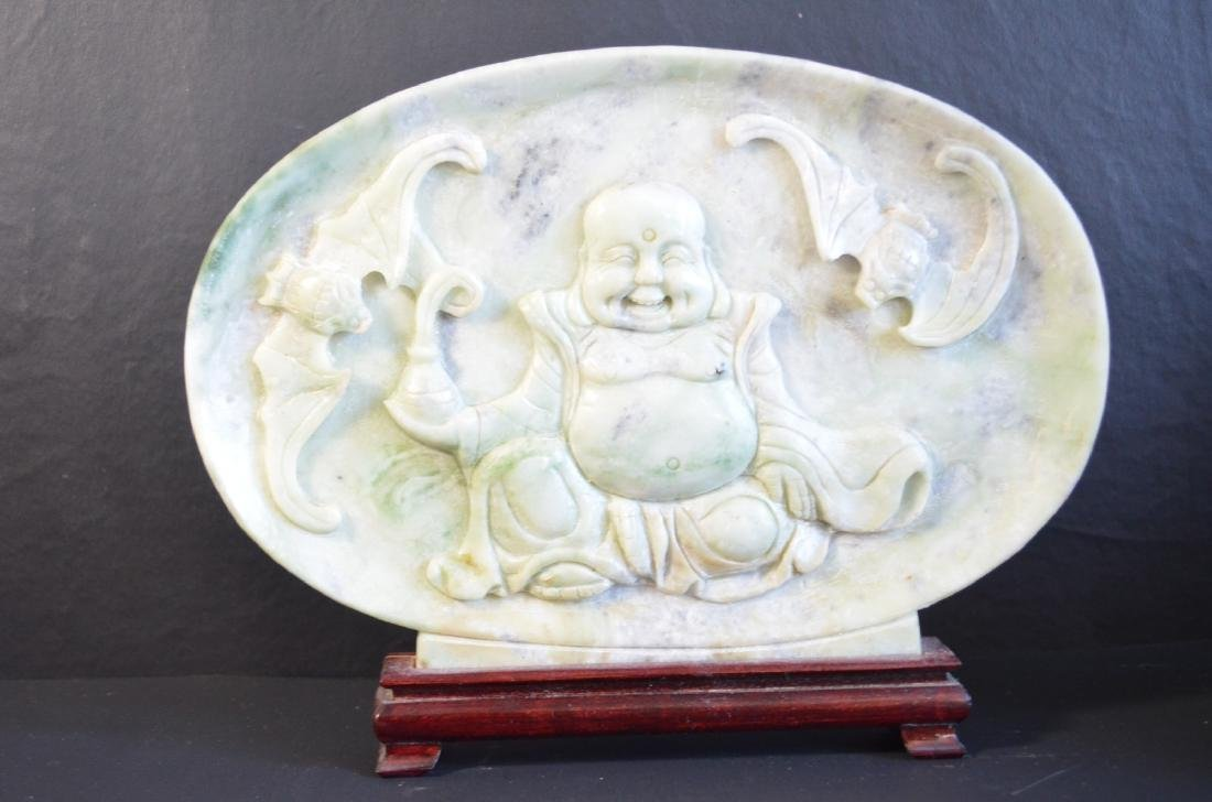 Chinese jade carving table screen with buddha