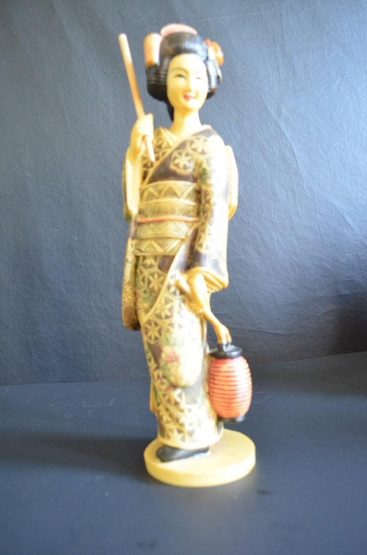 Japanese bone carved figure of lady