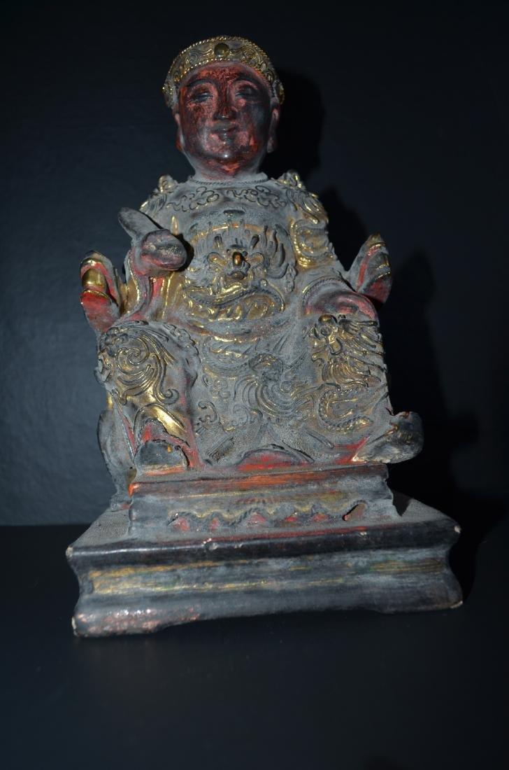 Chinese wood carving gilt buddha