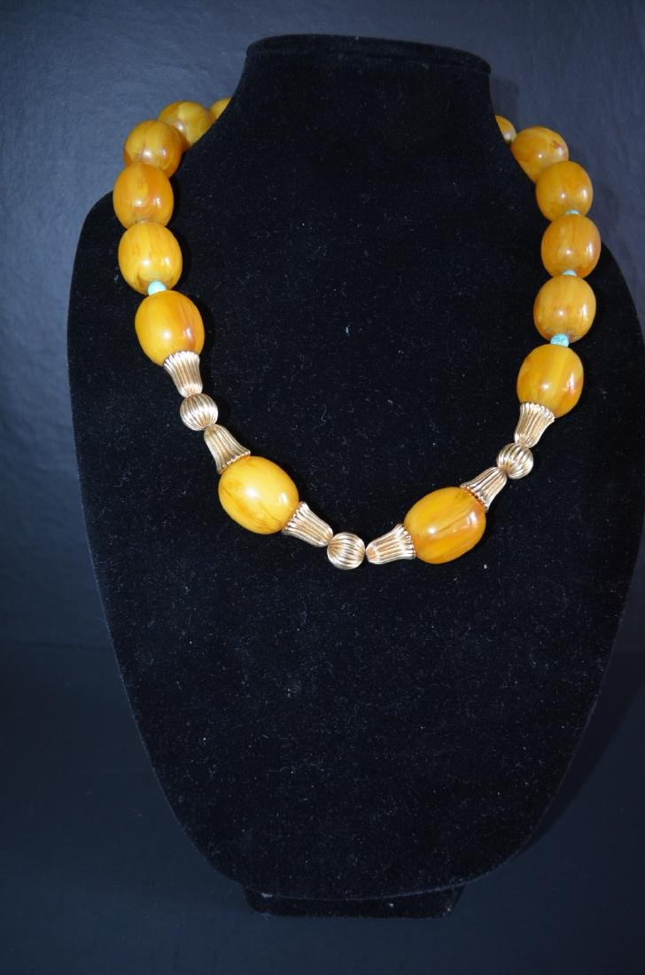 Chinese milky amber necklace 14k gold