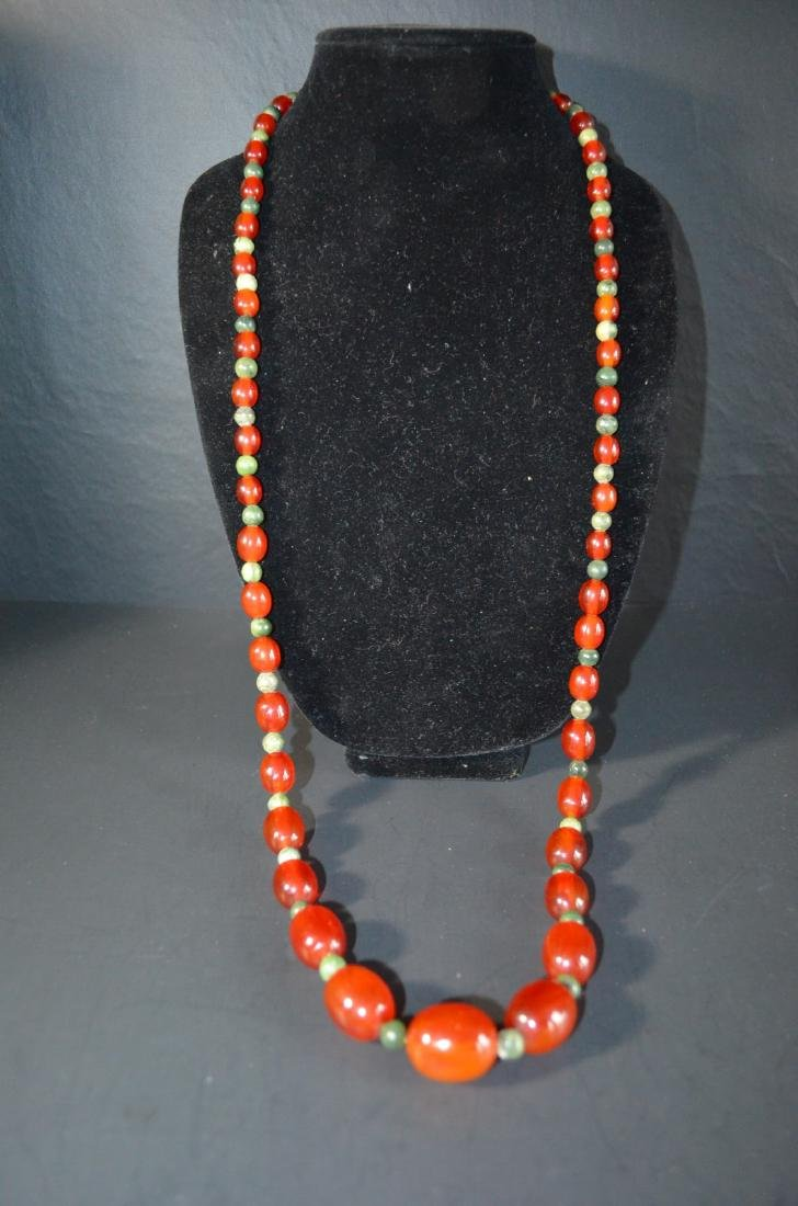 Chinese cheery amber with silver necklace