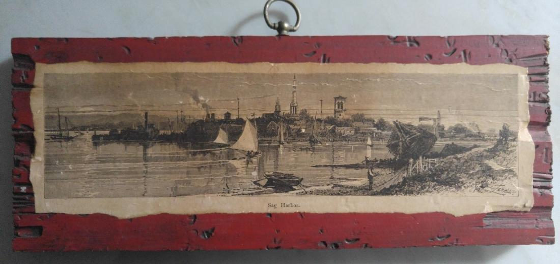 Vintage etching on paper of Sag Harbor New York
