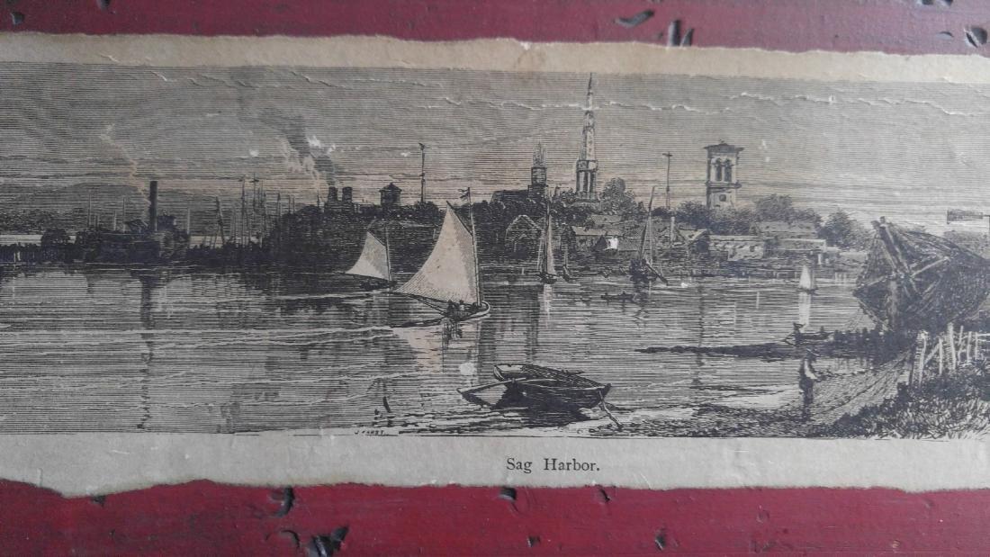 Vintage etching on paper of Sag Harbor New York - 2