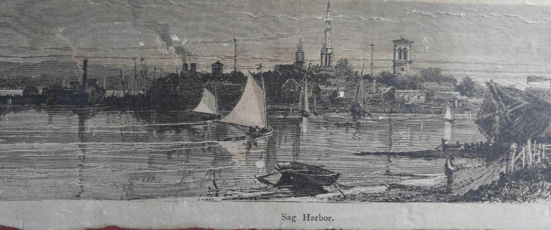 Vintage etching on paper of Sag Harbor New York - 3