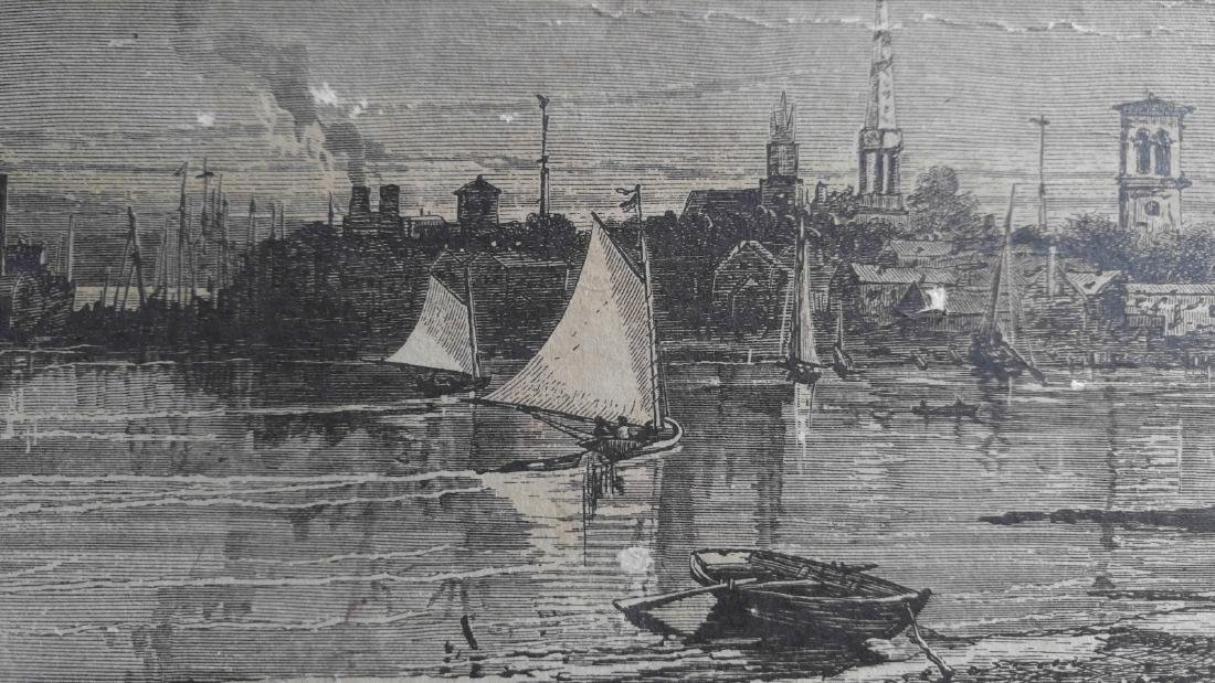 Vintage etching on paper of Sag Harbor New York - 4