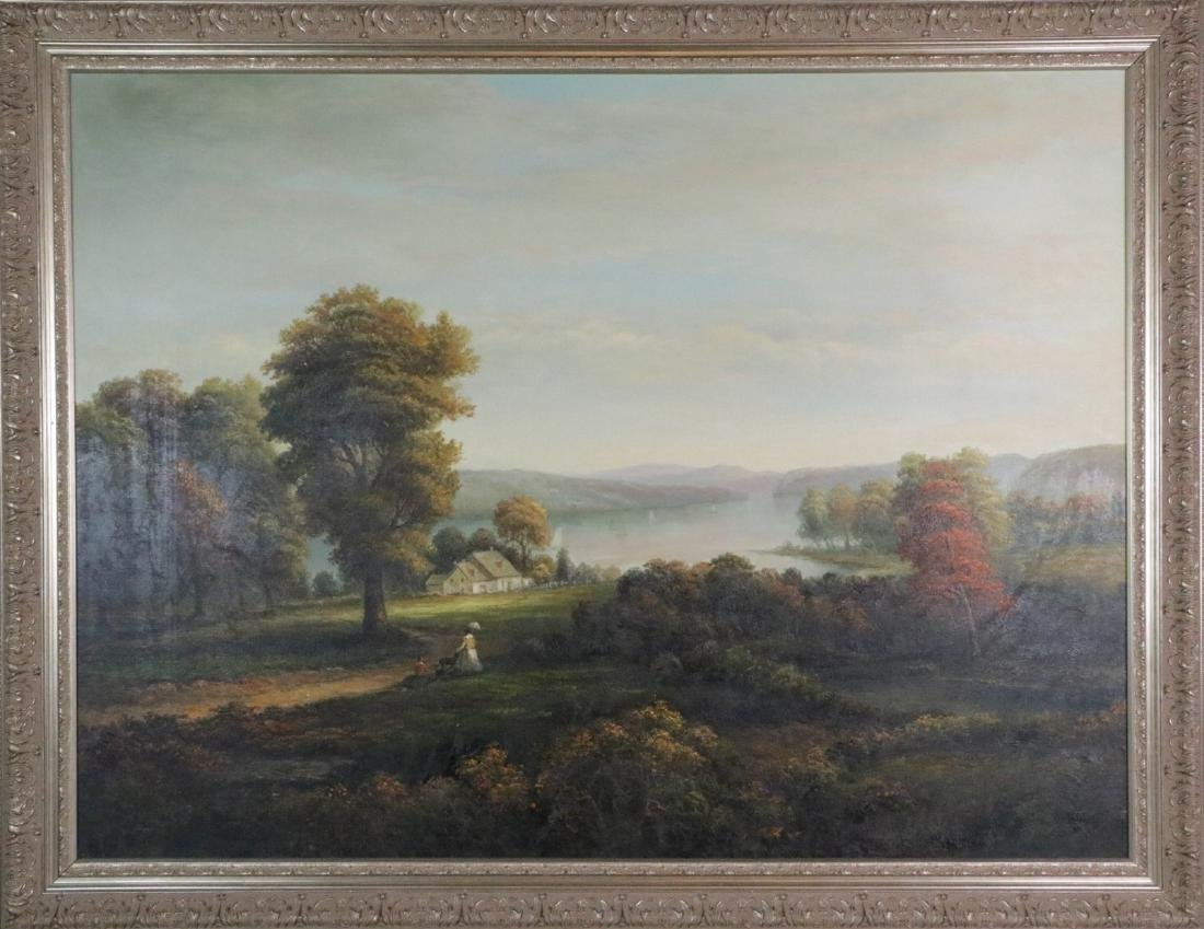 Large oil painting on canvas of landscape