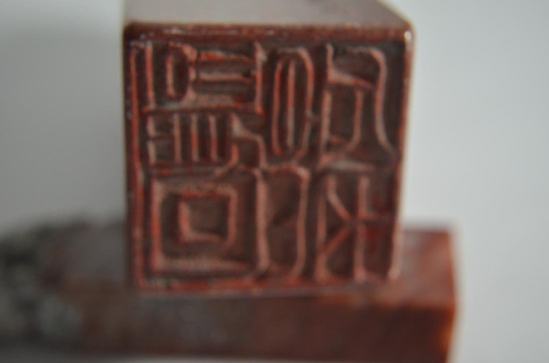 4 Vintage Chinese Carved Soapstone seals - 4